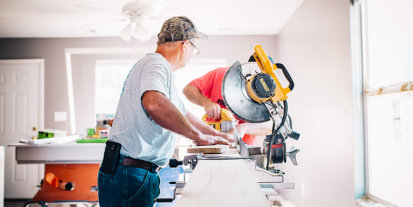 contractor working at table