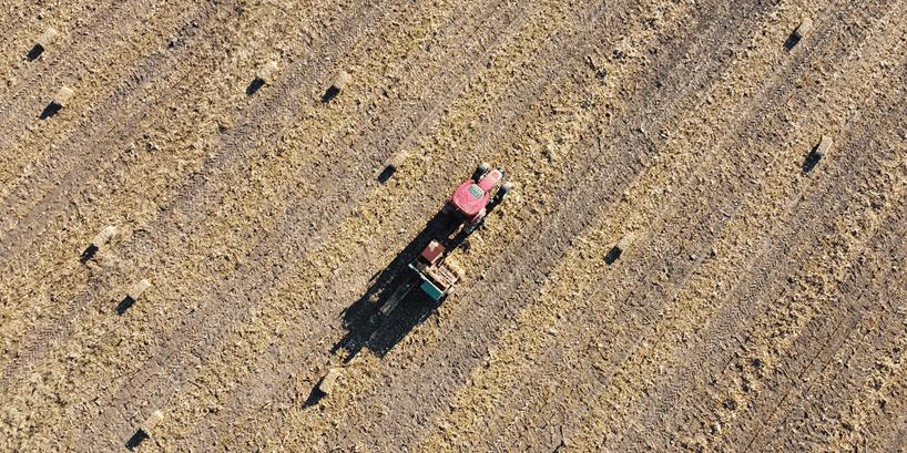 tractor on grain field