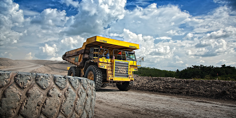 truck on mining field